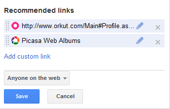 Google + Recommended Links