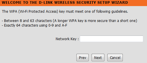 D-link wireless security network key