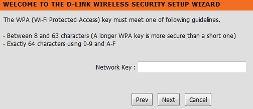 D-link wireless security network key