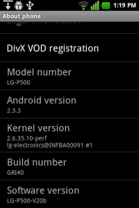 LG P500 android mobile phone 2.3.3 upgrade screenshot