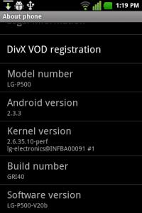 LG P500 android mobile phone 2.3.3 upgrade screenshot