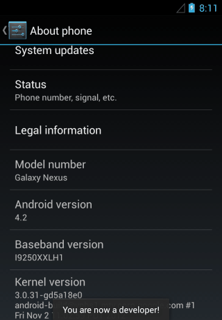 enable usb debugging developer options in android 4.2 Jelly Bean