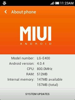 MIUI ROM on LG Optimus L3 E400