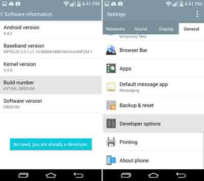 LG G3 Developer options and USB Debugging